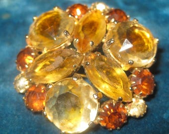 Vintage Amber Glass Brooch, Costume Jewelry