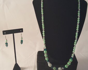 Green & Bling Jewelry Set - Green Glass Pearl Necklace - Green Necklace - Green Pearl Necklace - Green Earrings - Bling Necklace - Bling Set