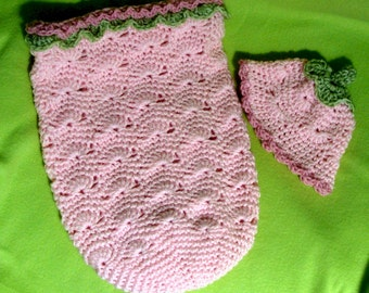 Wavy Shell Crochet Pattern Cocoon and Beanie PDF 680