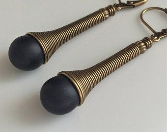 Black Glass Earrings   Bohemian Earrings   Spiral Caps   Boho   Long Dangle Earrings   Gypsy Dangles