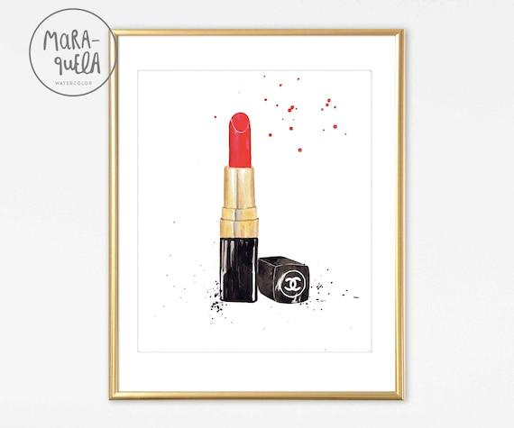 Original RED LIPSTICK Chanel in watercolor. Fashion Decor.