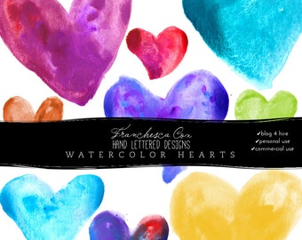 Digital Watercolor Hearts, Perfect for blog designers and web design, Clip art, personal, commercial and B4H Friendly