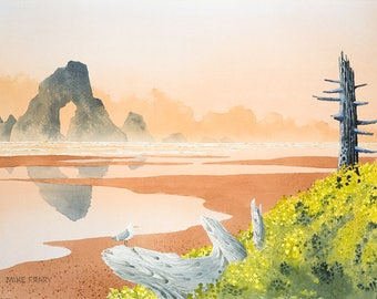 This is an archival print of a painting by Mike Frary called Indian Beach. One of a series of Oregon coast paintings.