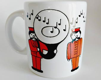Waechtersbach Mug Tuba Player / Music Notes / Marching Band / Band Director Gift / Red White Black / Tuba Player Mug / Red Coffee Mug