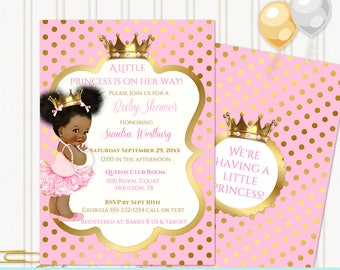Little Royal Princess Ballerina Pink & Gold Crown Jewels | African American Vintage Baby Afro Puffs | Editable PDF Digital Instant Download