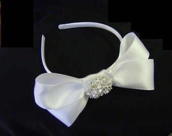 Satin Bow with Crystal Brooch on Satin headband, Flower Girl Headband, Satin and Crystal Headband
