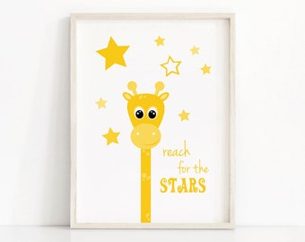Yellow Nursery Art, Giraffe Wall Art, Stars Nursery Print,  Printable Kids Wall Art, Instant Download Nursery Art Print, Digital Nursery Art