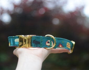 PREMIUM COLLECTION, Eco Canvas Collar, CAMPERS, Dog, Collar, Dog Collar, Waterproof, Buckle, Martingale