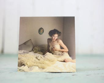 Women in bed blank greeting card photography 5X5in Valentine