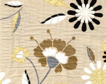 STYLIZED flowers pattern 4 X 1 paper lunch size napkin 492