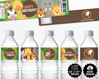 Safari Water Bottle Labels. Neutral Birthday Bottle Labels. Printable Wrappers - Wraps. Bottle Covers. Jungle Kids Birthday Party Labels
