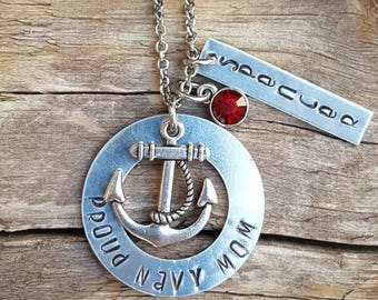 Proud to be a navy mom,wife,or girlfriend necklace. With their name on the tag