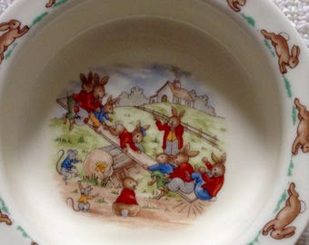 Royal Doulton Bunnykins child feeding bowl, 1980's, Made in England; bunnies playing on a teeter-totter
