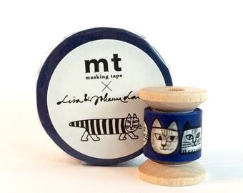 NEW Washi Tape by Designer Lisa Larson Mini Spool Single Cat Faces in Blue 15mm width x 2 yards.
