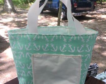 Anchor tote, small tote, kids tote, knitting bag