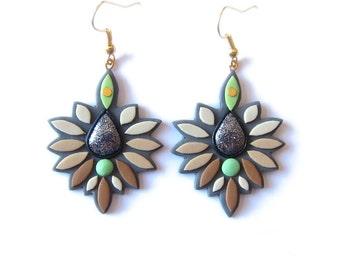 Beige Earrings, Geay Earrings, Brown Earrings, Dangle Earrings, Big Earrings, Polymer Clay Earrings, Geometric Earrings, Modern Earrings