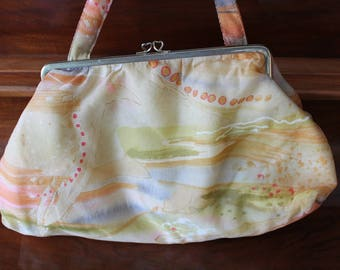 60s Makeup Cosmetic Bag by Jacquelle Print Fabric Vinyl Lining