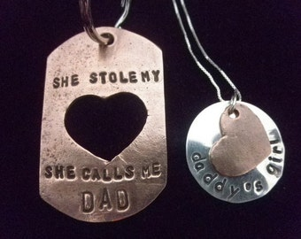 Dad Daughter set. Daddy's Girl necklace, Father Daughter set, Father's Day Gift, She Stole My Heart She Calls Me Dad Keychain, Gifts for Dad