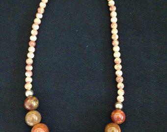 Beaded stone necklace brown and tan Vintage