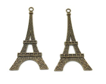 2 large Eiffel tower charms , bronze tone metal ,36mm x 70mm  # CH661