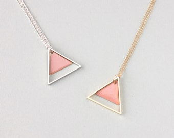 Large Two Triangle Metal Necklace (Light Pink) - Modern Handmade Jewellery