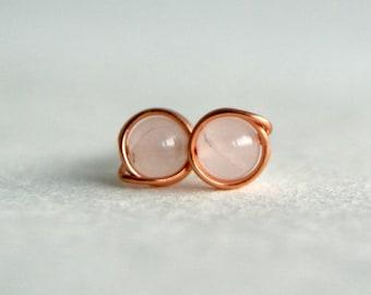 4mm Rose Quartz & Copper Stud Earrings, Gemstone Earrings, Copper Earrings, Boho, Hippie, Delicate, Metaphysical Jewelry