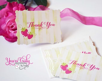 Strawberry thank you note card set with watercolor green stripes