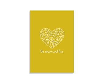 Abbildung Kunstdruck, werden intelligente und Liebe, Senf, weiß, Wandkunst, inspirierendes Design, skandinavische Kunst Liebe Kunst