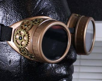 Steampunk Goggles Brass with shiny brass gears