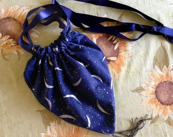 Magical, Purse, Moon - Stars - Silver, Dress-up, Midnight Blue, Two inside pockets, One of a Kind, Costume Wear, Halloween, Ready to ship