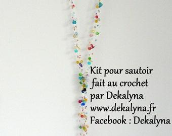 DIY kit bijou sautoir multicolore. Kit Tutoriel crochet français.