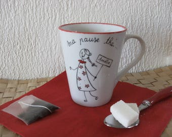 """personalized mug collection """"naive"""" original red and black. Humorous"""