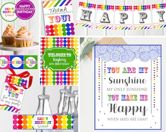 Rainbow Birthday Party | Art Party | Art Birthday Decorations | Art Party Printables | Artist Party | Rainbow Birthday | INSTANT Download