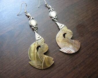 Mother of pearl earrings | sterling silver | tribal | boho chic | long
