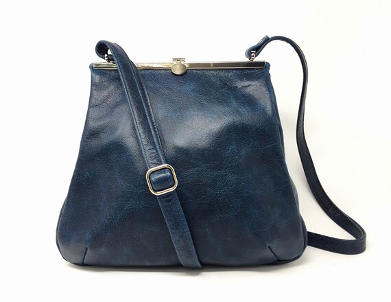 Leather bag blue
