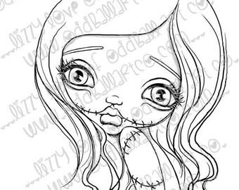 "INSTANT DOWNLOAD Kawaii Creepy Cute Digital Stamps ~ ""Sugar"" Image No. 242/242B by Lizzy Love"