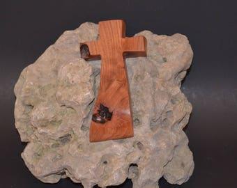 "Wooden Wall Cross; 3""x6""x1""; Rustic Cabin Decor; Wall Cross Decor; Crooked Cross; Mesquite; Handmade;  Free Ground Shipping cc5-3121617"