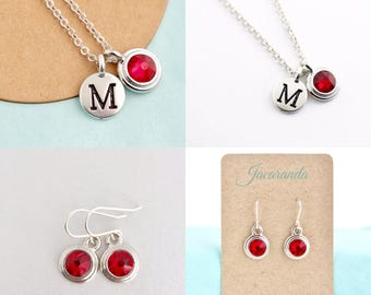 Silver Personalized Jewelry For Woman - Birthstone and Initial