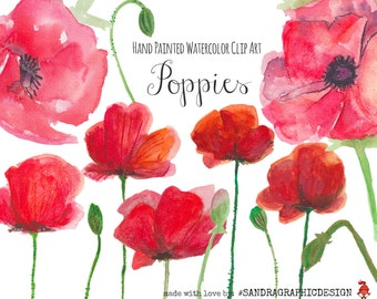 "Clip art: ""POPPIES""  handpainted, 12 clipart 300 dpi PNG  files (5130)"