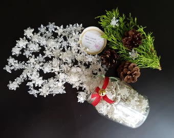 Tissue Paper Snowflake Confetti - Tiny Snowflakes Christmas Winter Decorating - Old Vintage style.
