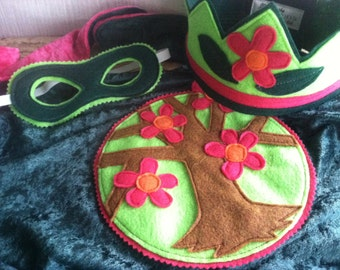 Elven Fairy Cape GREEN and PINK - Super Cape - Birthday Cape - Super Hero Cape - Halloween Costume - Halloween Costume - Kid Costume