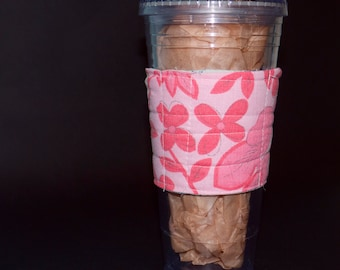 Quilted Cup Cover. Recycled. Reusable. Eco Friendly.  Very Cool.