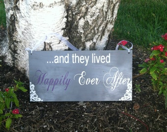 And They Lived  Happily Ever After Sign Here Comes the Bride Ring bearer sign Flower girl Sign Personalized Wedding Signs Wedding Signage