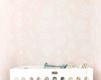 Removable Wallpaper // Flora Blush // Adheres to walls and shelves and is removable