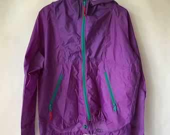 Vintage Color Block Windbreaker-  Purple and Teal Jacket  - Street Wear - Retro Coat Sport Core - Fresh Prince - Size Medium