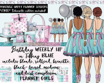 HP Weekly Birthday Planner Stickers / Happy Planner Classic / Printable Planner Stickers / Cut Files / All Planner Girls / tiffany blue
