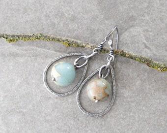 aqua stone earrings, metalwork earrings, boho drop earrings, oxidized silver jewelry, aqua terra jasper, sterling ear wires
