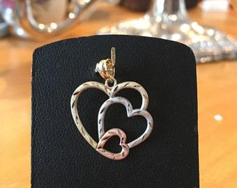 Triple Heart Pendant ,10K Gold Heart pendant, White, Rose and Yellow Gold ,Three Hearts Nesting Pendant, Tri- Colour Gold