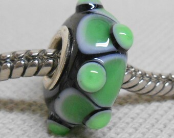 SRA Handmade Lampwork Bead Silver Cored Bead Black with Light Green Design and Raised Dots
