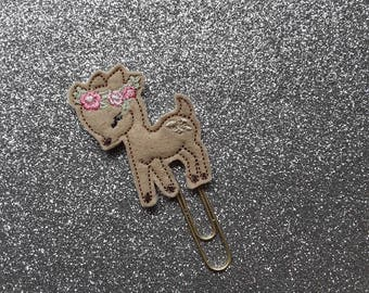 Beautiful Deer with Flower Crown.  Planner Feltie Clip.  Paperclip.  Felt Clip. Planner Gifts.  Stationery.